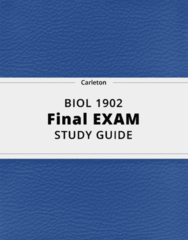 BIOL 1902- Final Exam Guide - Comprehensive Notes for the exam ( 32 pages long!)