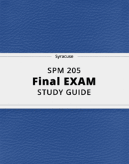 SPM 205- Final Exam Guide - Comprehensive Notes for the exam ( 36 pages long!)