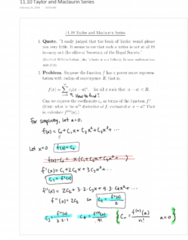MATH 152 Lecture 1: 11.10 Taylor and Maclaurin Series