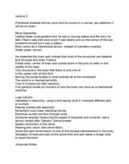 PSYC 211 Lecture Notes - Lecture 2: Luigi Galvani, René Descartes, Pineal Gland