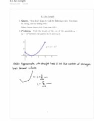 MATH 152 Lecture 1: 8.1 Arc Length