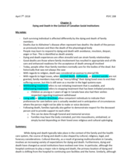 PSYC 208 Chapter Notes - Chapter 3: Death Care Industry In The United States, Palliative Care, Futile Medical Care