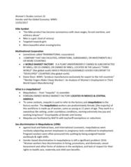 Women's Studies 1020E Lecture Notes - Lecture 16: Diane Elson, Maquiladora, Multinational Corporation