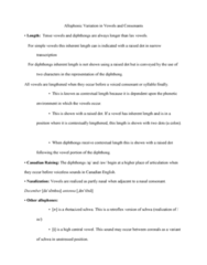 LIN229H5 Study Guide - Final Guide: Nasal Consonant, Diphthong, Canadian Raising