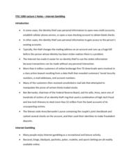 ITEC 1000 Lecture Notes - Lecture 1: Ben Bernanke, Td Ameritrade, Online Gambling