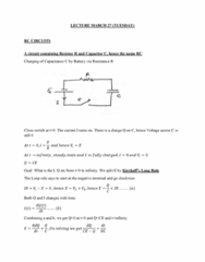 PHYS 272 Lecture Notes - Lecture 23: Capacitor, Resistor