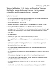 Women's Studies 2163A/B Chapter Notes - Chapter coursebook: Eleanor Roosevelt, Universal Declaration Of Human Rights, Egalitarianism