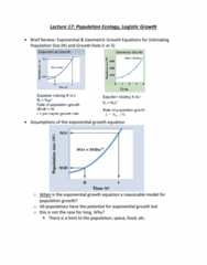 ZOL 355 Lecture Notes - Lecture 17: Logistic Function, Exponential Growth, Loggerhead Sea Turtle