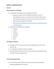 MGTS1601 Lecture Notes - Lecture 11: Job Design, Telecommuting, Dan Ariely