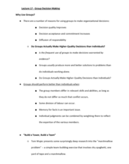 MGTS1601 Lecture Notes - Lecture 17: Social Loafing, Group Cohesiveness, Groupthink