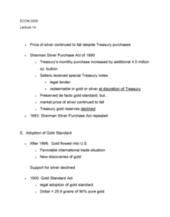 ECON 2200 Lecture Notes - Lecture 14: Sherman Silver Purchase Act, Gold Standard Act, Fiat Money