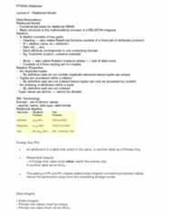 FIT2094 Lecture Notes - Lecture 2: Tuple, Referential Integrity, Relational Model