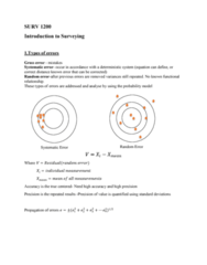 SURV1200 Lecture Notes - Lecture 1: Observational Error