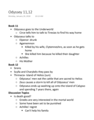 CAMS 001 Lecture Notes - Lecture 8: Thrinacia, Odysseus