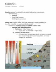 EVSC10001 Lecture Notes - Lecture 29: Intertidal Zone, Littoral Zone, Desiccation
