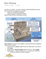 EVSC10001 Lecture Notes - Lecture 25: Mass Wasting, Regolith, Particle Size