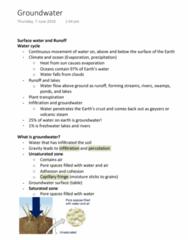 EVSC10001 Lecture Notes - Lecture 27: Sinkhole, Capillary Fringe, Porosity
