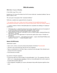 PHIL 415 Lecture Notes - Lecture 13: Richard Wollheim, Modern History, Art History