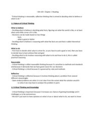 SSH 105 Chapter Notes - Chapter 1-6: Jelly Bean, Critical Thinking, Dependent Clause