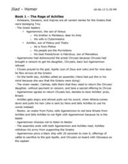 CLASSICS 1B03 Chapter Notes - Chapter All: Chryses, Chryseis, Myrmidons
