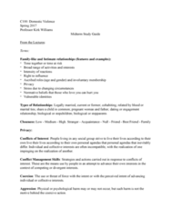 CRM/LAW C118 Study Guide - Midterm Guide: Stepfamily, Dating Abuse, Social Group