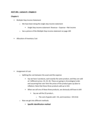 ACCT 201 Lecture Notes - Lecture 9: Income Statement, Weighted Arithmetic Mean