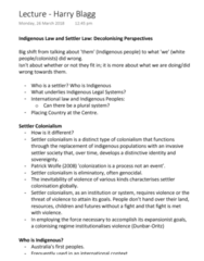 LAWS1111 Lecture Notes - Lecture 5: Settler Colonialism, Australian Aboriginal Kinship, Nationstates