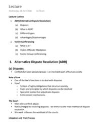 LAWS1111 Lecture Notes - Lecture 7: Alternative Dispute Resolution, Vmu, Restorative Justice