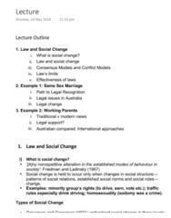 LAWS1111 Lecture Notes - Lecture 10: Social Change, Distilled Beverage, Susan Crennan