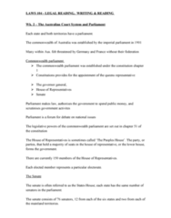 LAWS104 Lecture Notes - Lecture 2: Telstra, Summary Jurisdiction, Law Report