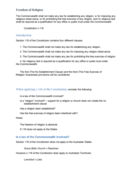 LLB203 Study Guide - Final Guide: Ex Rel., Establishment Clause, State Religion
