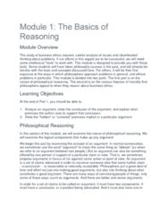 PHIL 331 Lecture 1: Module 1 The Basis of Reasoning Part 1