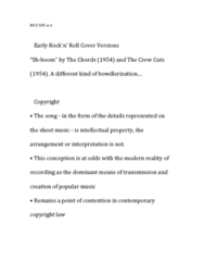 MUS 505 Lecture Notes - Lecture 6: The Crew-Cuts, Bill Haley, Paul Whiteman