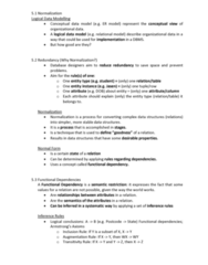 INFS1603 Lecture Notes - Lecture 5: Logical Data Model, Conceptual Schema, Functional Dependency