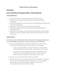 GOVN 444 Lecture Notes - Lecture 1: International Development, Perfect Competition, Dependency Theory