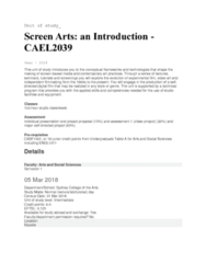 CAEL2039 Lecture Notes - Lecture 1: Sydney Grammar School, Experimental Film, Video Art