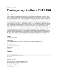 CATE3004 Lecture Notes - Lecture 1: Presentation Of A Group, Mit Press, Contemporary Realism