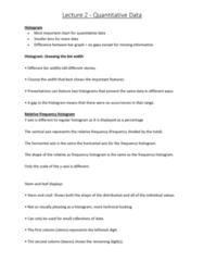6540 Lecture Notes - Lecture 2: Interquartile Range, Unimodality, Quartile