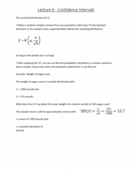 6540 Lecture Notes - Lecture 6: Sampling Distribution, Confidence Interval, Statistical Parameter
