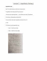 6540 Lecture Notes - Lecture 7: Test Statistic, Alternative Hypothesis, Null Hypothesis