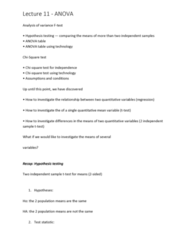 6540 Lecture Notes - Lecture 11: Statistical Hypothesis Testing, Test Statistic, Variance