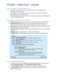 FIT2002 Lecture Notes - Lecture 4: Project Plan, Requirements Management, Requirements Traceability