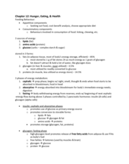 PSYC 3030 Study Guide - Midterm Guide: Conditioned Taste Aversion, Blood Sugar, Solitary Tract