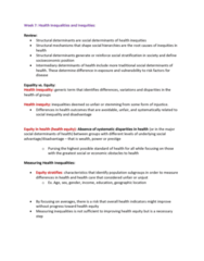 HLTB41H3 Lecture Notes - Lecture 7: Health Equity, Social Stratification, Social Inequality