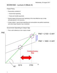 ECON1002 Lecture Notes - Lecture 5: Fiscal Policy, Government Spending, Substitute Good