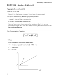 ECON1002 Lecture Notes - Lecture 4: Potential Output, Consumption Function, Root Mean Square
