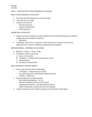 PSYC105 Lecture 1: WEEK 1 - INTRODUCTION TO DEVELOPMENTAL PSYCHOLOGY
