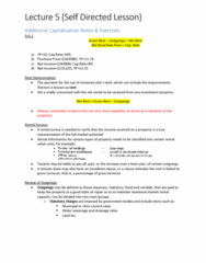 16234 Lecture Notes - Lecture 5: Management Fee, Gross Income, The Rentals