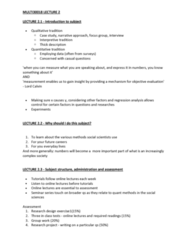 MULT30018 Lecture Notes - Lecture 2: Thick Description, Regression Analysis, Focus Group