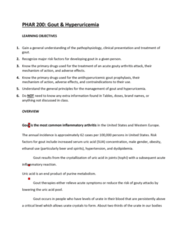 PHAR 200 Study Guide - Midterm Guide: Inflammatory Arthritis, Hyperuricemia, Uric Acid